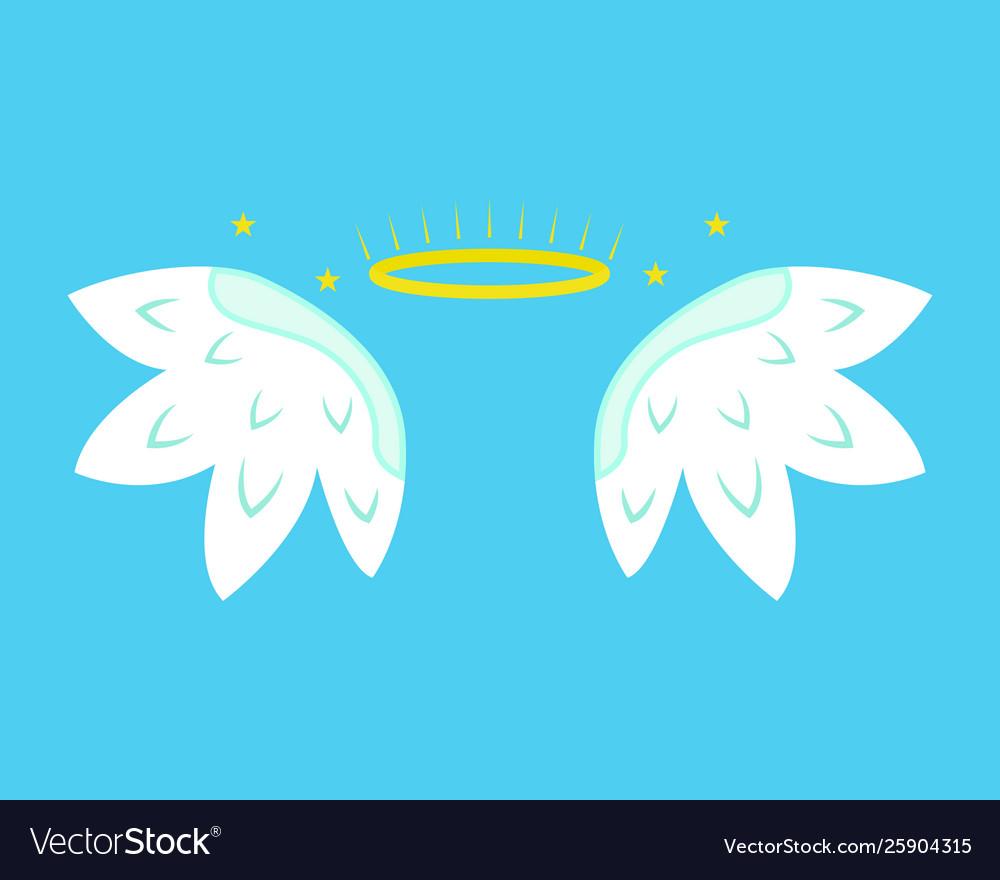 Cartoon angel wings on a blue background