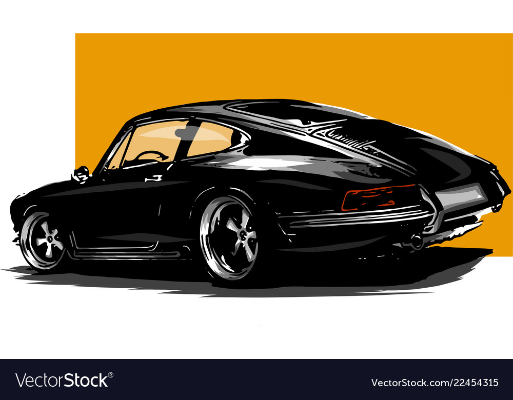 European Classic Sports Car Silhouettes Royalty Free Vector