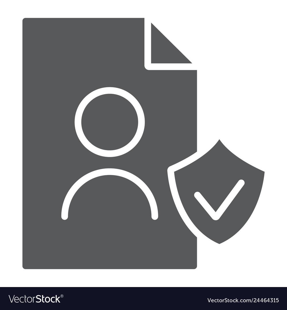 Gdpr personall data glyph icon private and gdpr