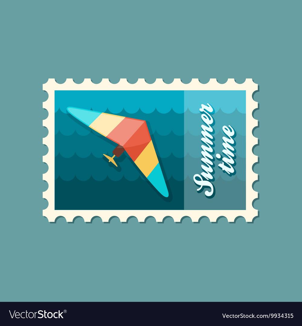 Hang Glider stamp Summer Vacation vector image