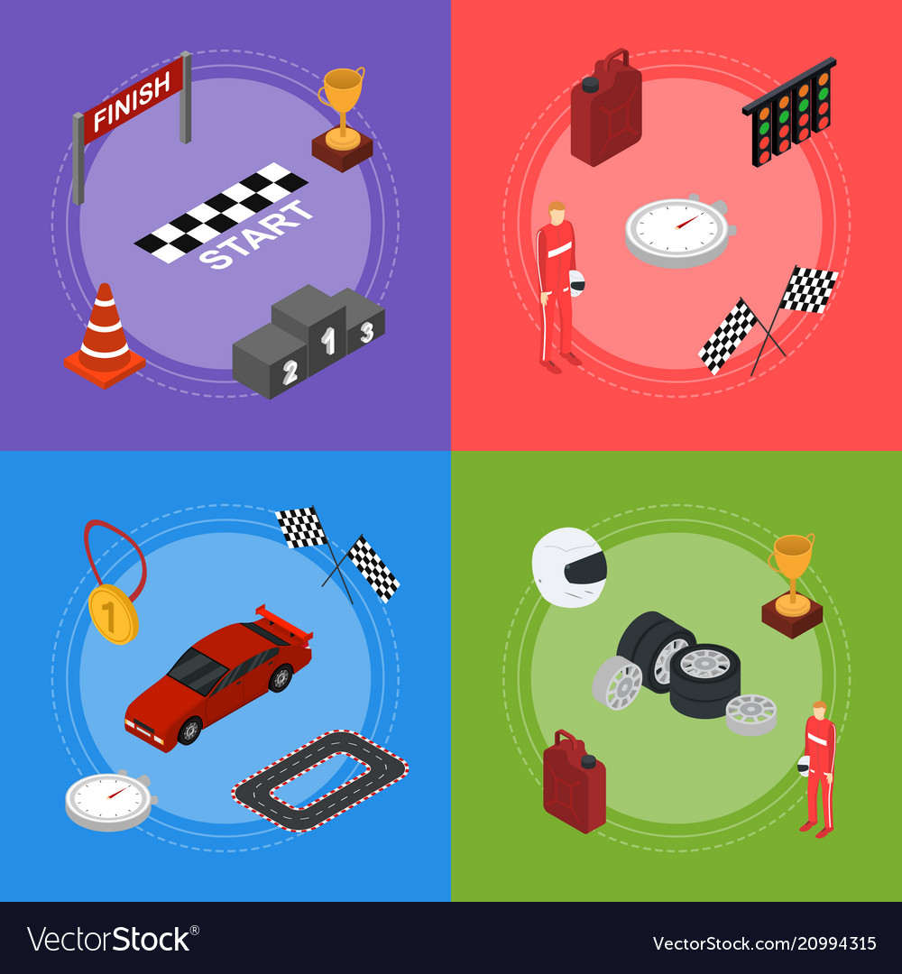 Racing sport banner card set isometric view
