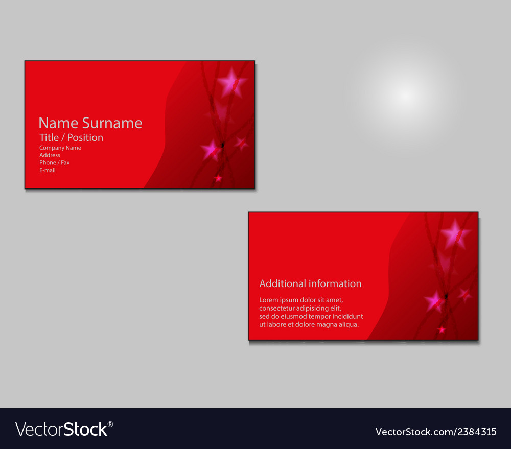 Red business card layout with red stars on vector image colourmoves