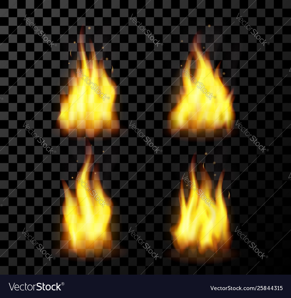 Red realistic fire set on a transparent background