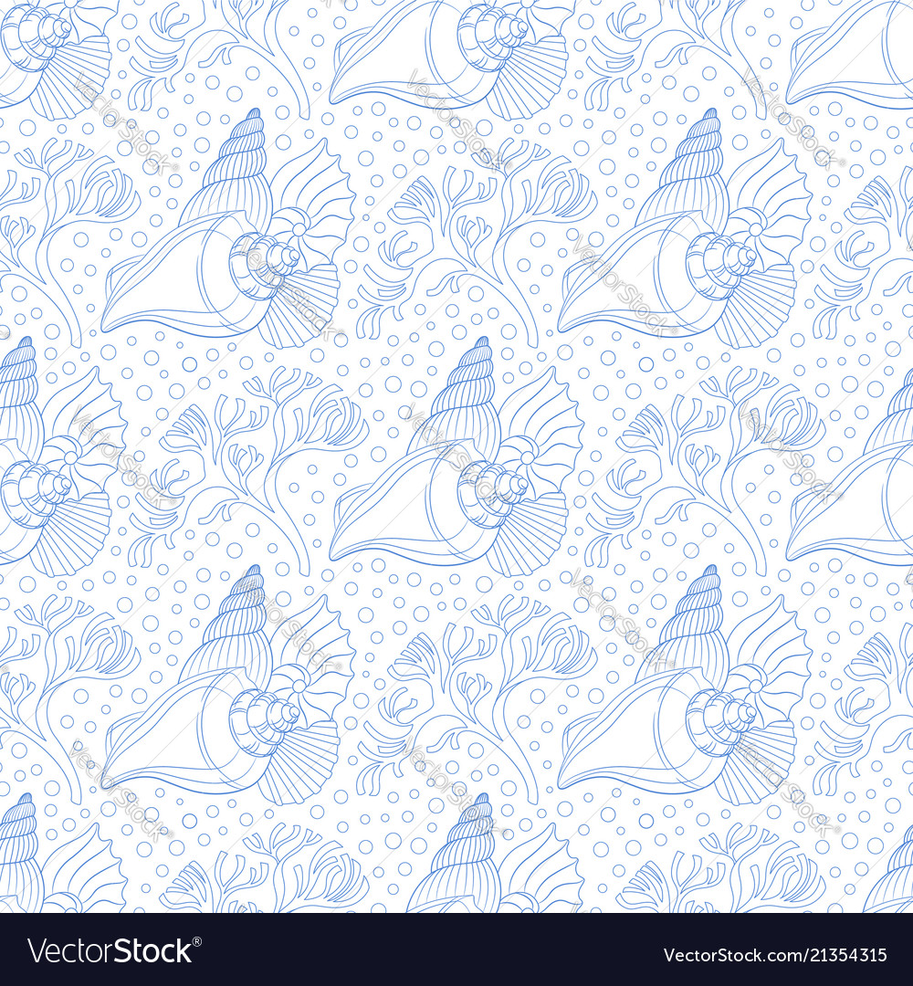 Seamless pattern with seashells algae and bubbles