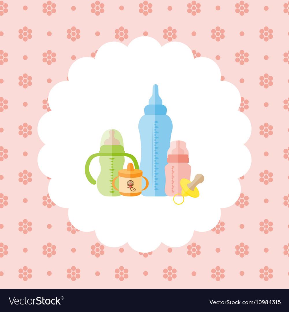Set of baby feeding bottles pacifier vector image