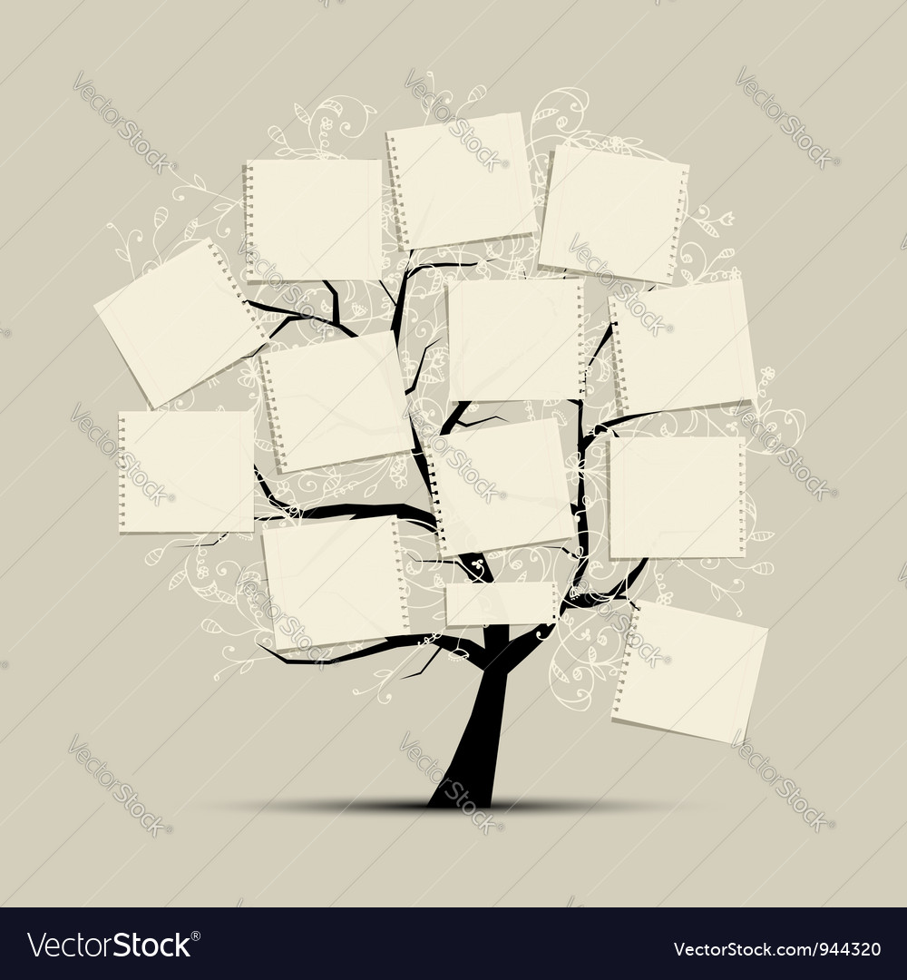 Art tree with papers for your text vector image