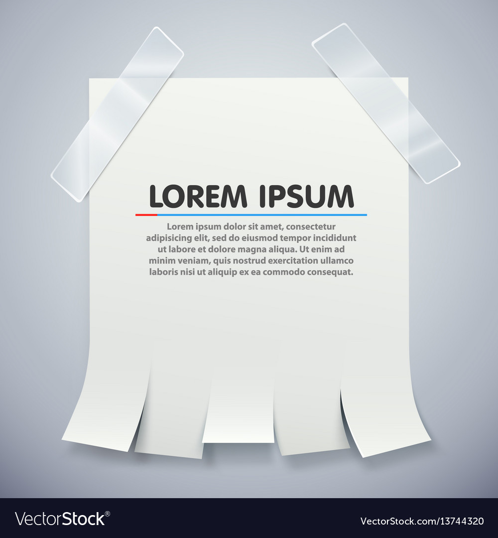 Blank advertisement with tear off tabs and Vector Image