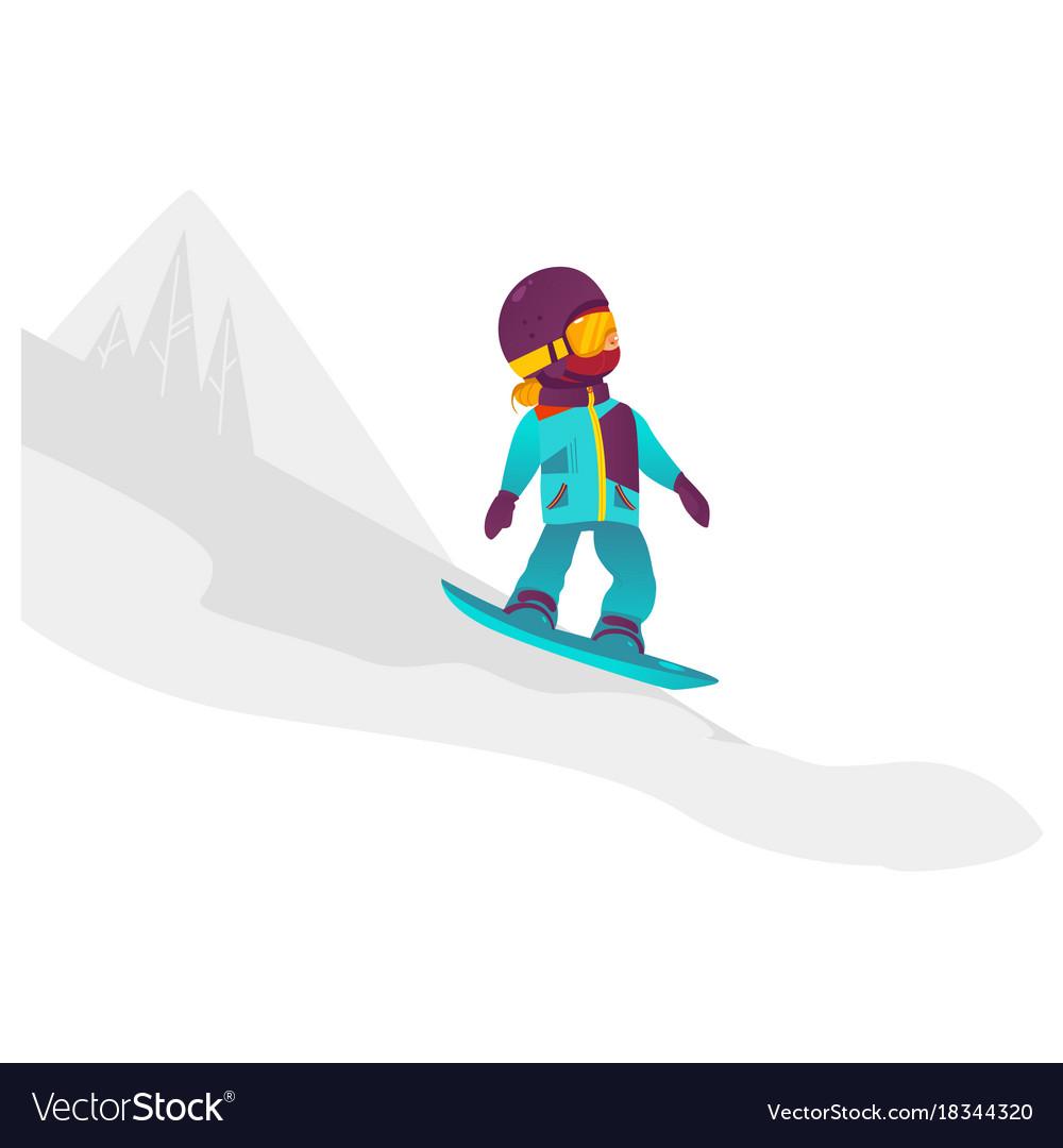Cartoon Girl Teen Kid Snowboarding Royalty Free Vector Image