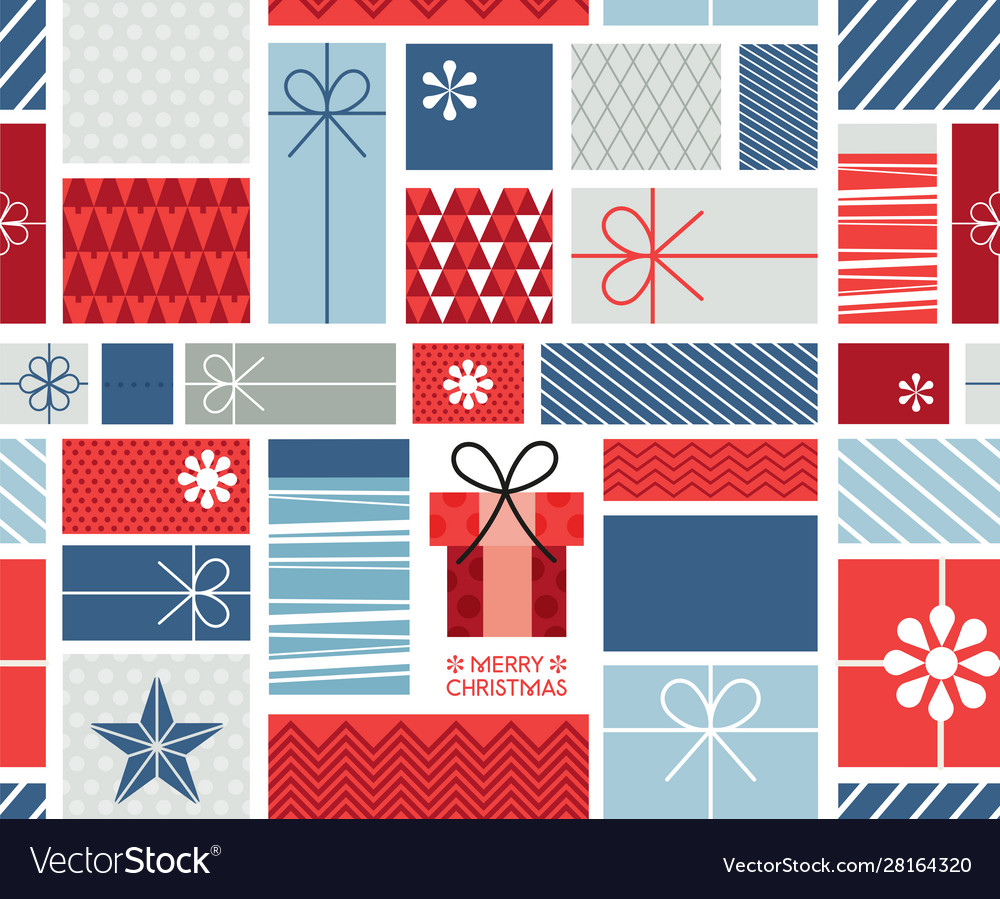 Christmas gift boxes pattern with ribbons in hand