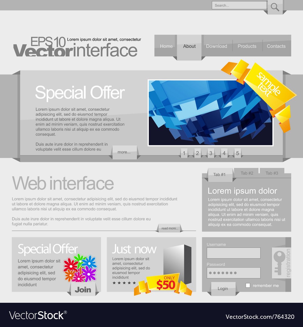 Gray website template 960 vector image