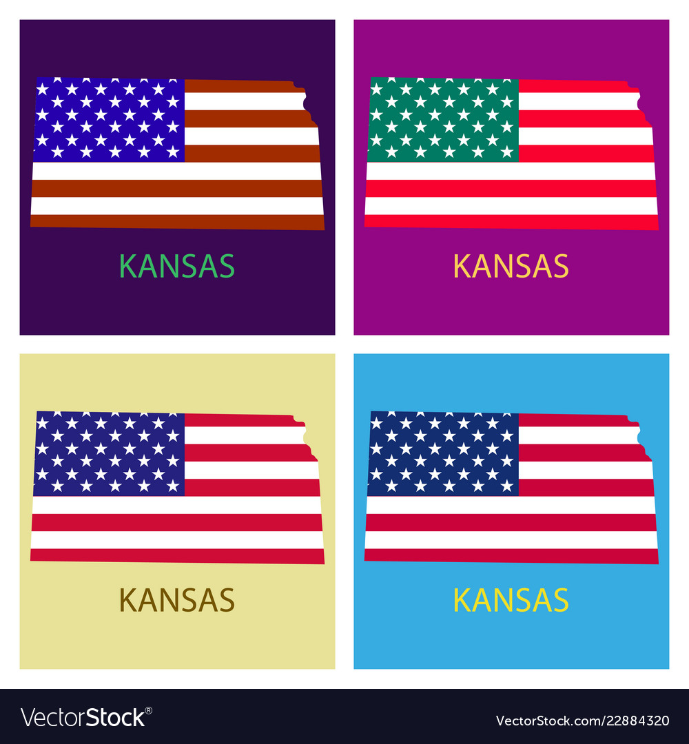 Kansas State Of America With Map Flag Print On Vector Image