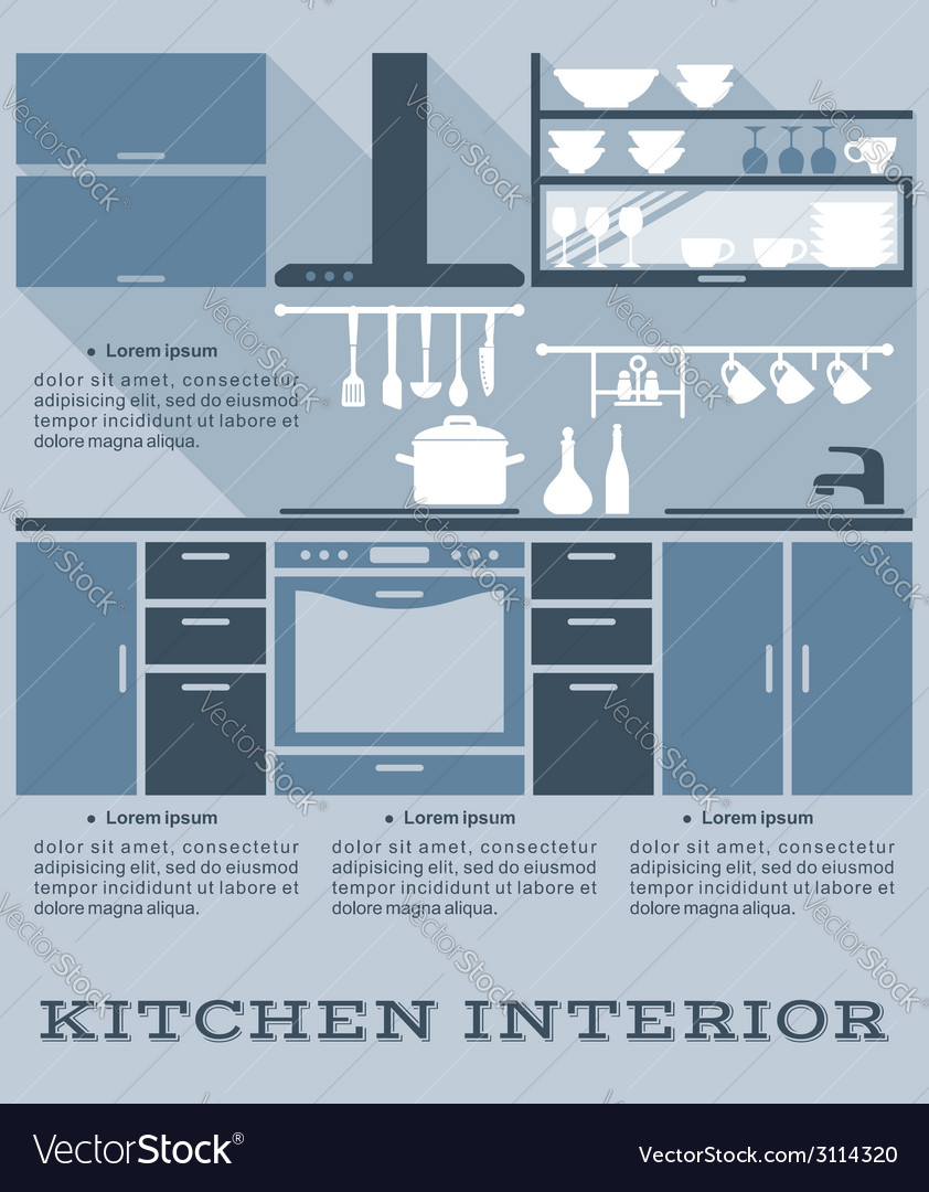 Kitchen Interior Flat Design Royalty Free Vector Image