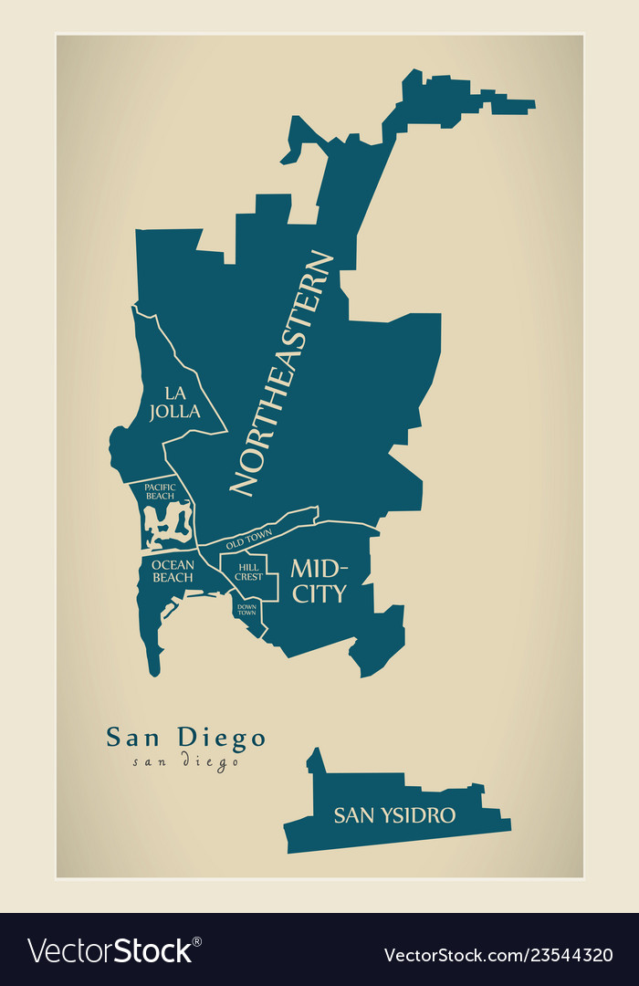 San Diego Map City.Modern City Map San Diego City Of The Usa With Vector Image