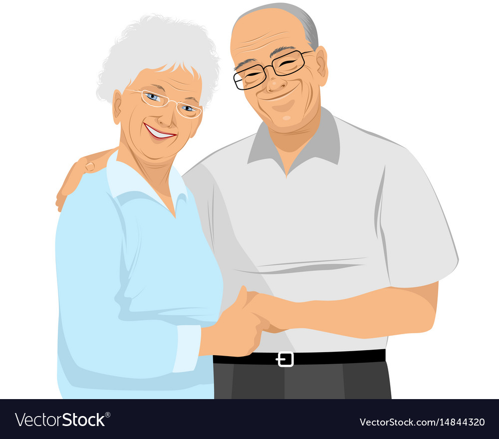 Older couple hugs