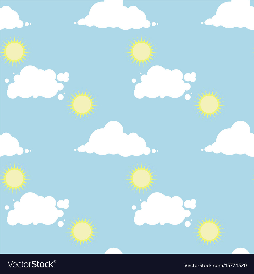 Seamless pattern with a sunny day sky
