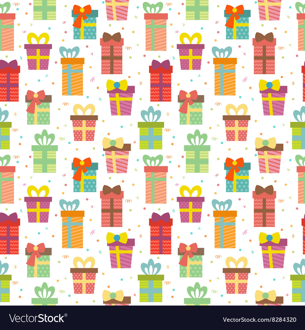 Seamless Pattern With Gift Boxes Cute Birthday