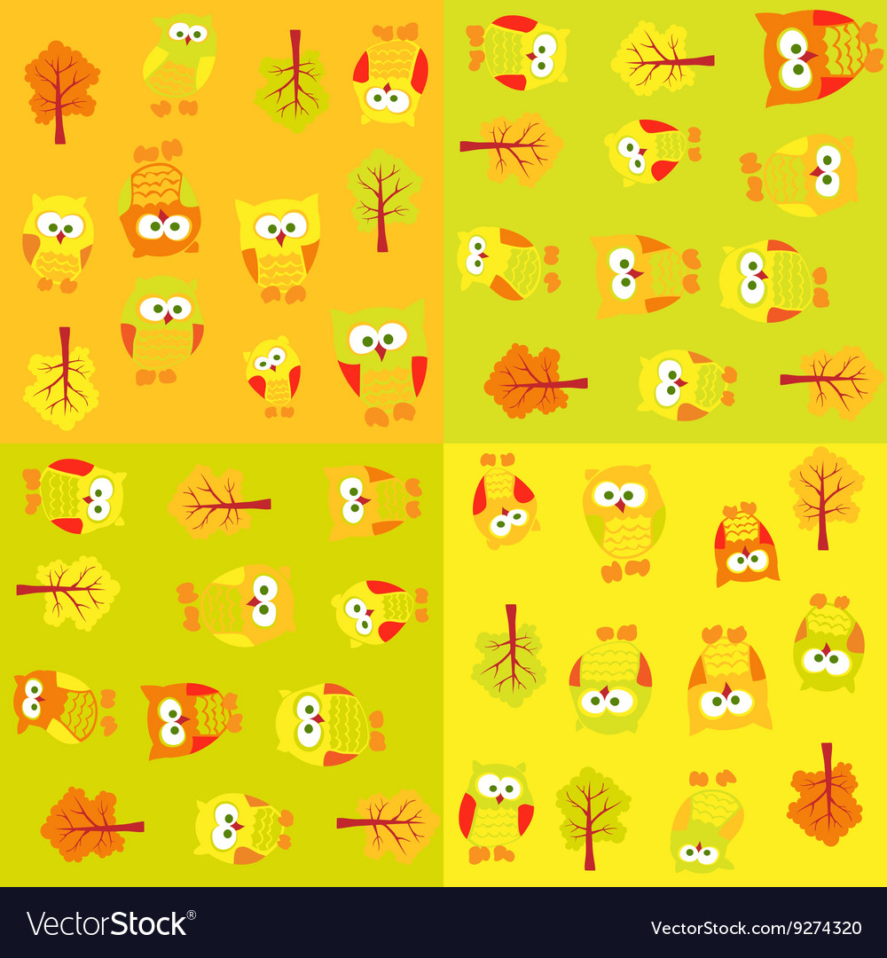 Seamless pattern with owls and trees in squares