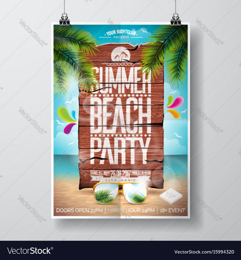 Summer beach party flyer design with typographic