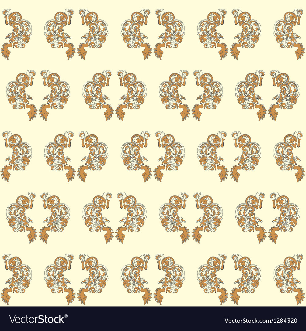 Vintage Seamless Wallpaper Yellow Royalty Free Vector Image
