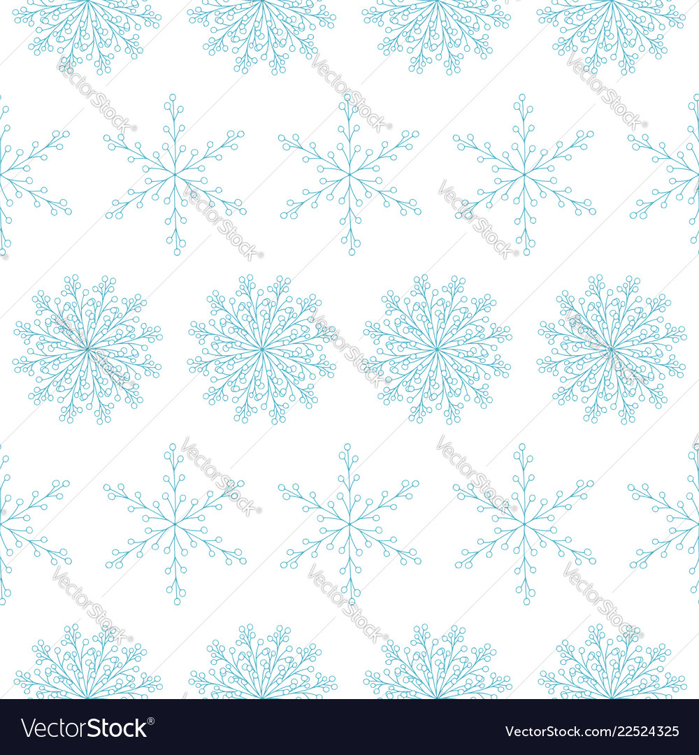 Beautiful seamless pattern with blue snowflakes