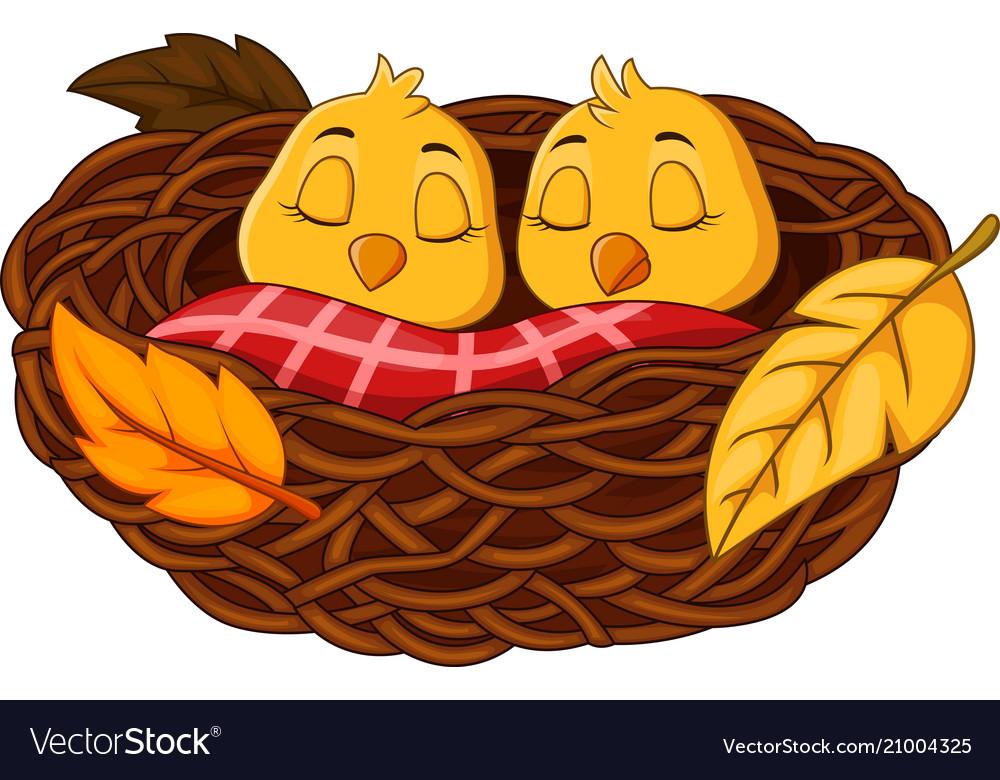 Cartoon baby bird sleeping in the nest Royalty Free Vector