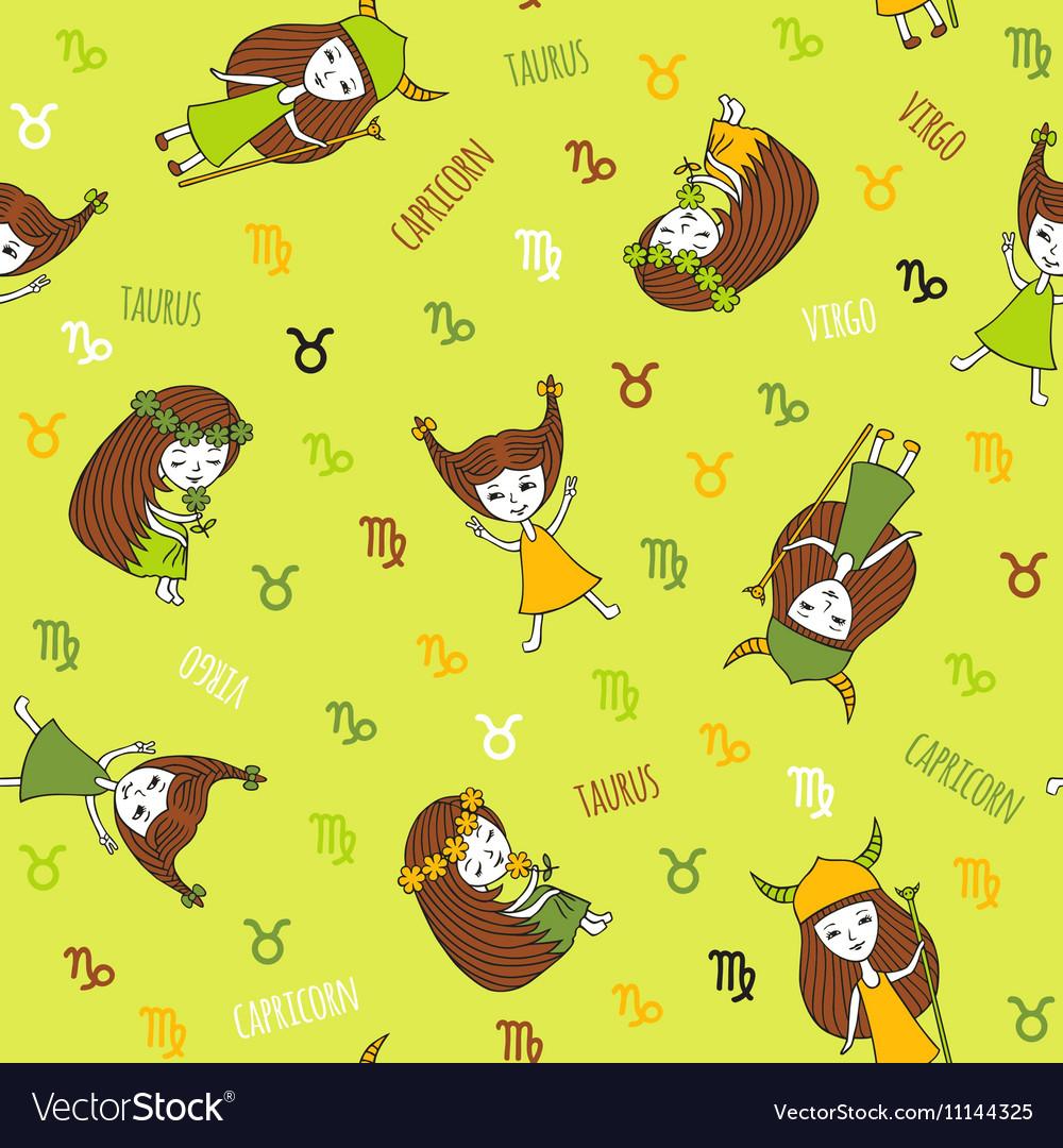Capricorn element cartoon. Cute seamless pattern with