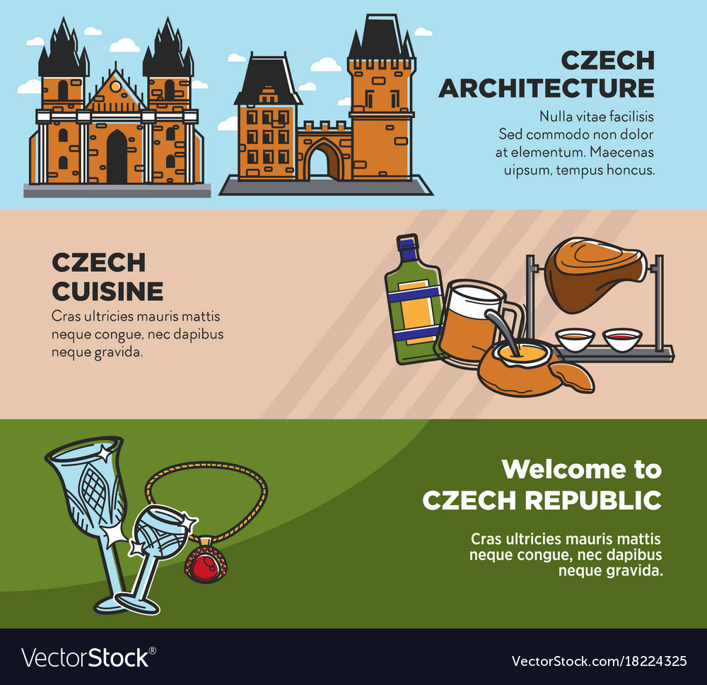 Czech travel tourism landmarks and culture famous vector image
