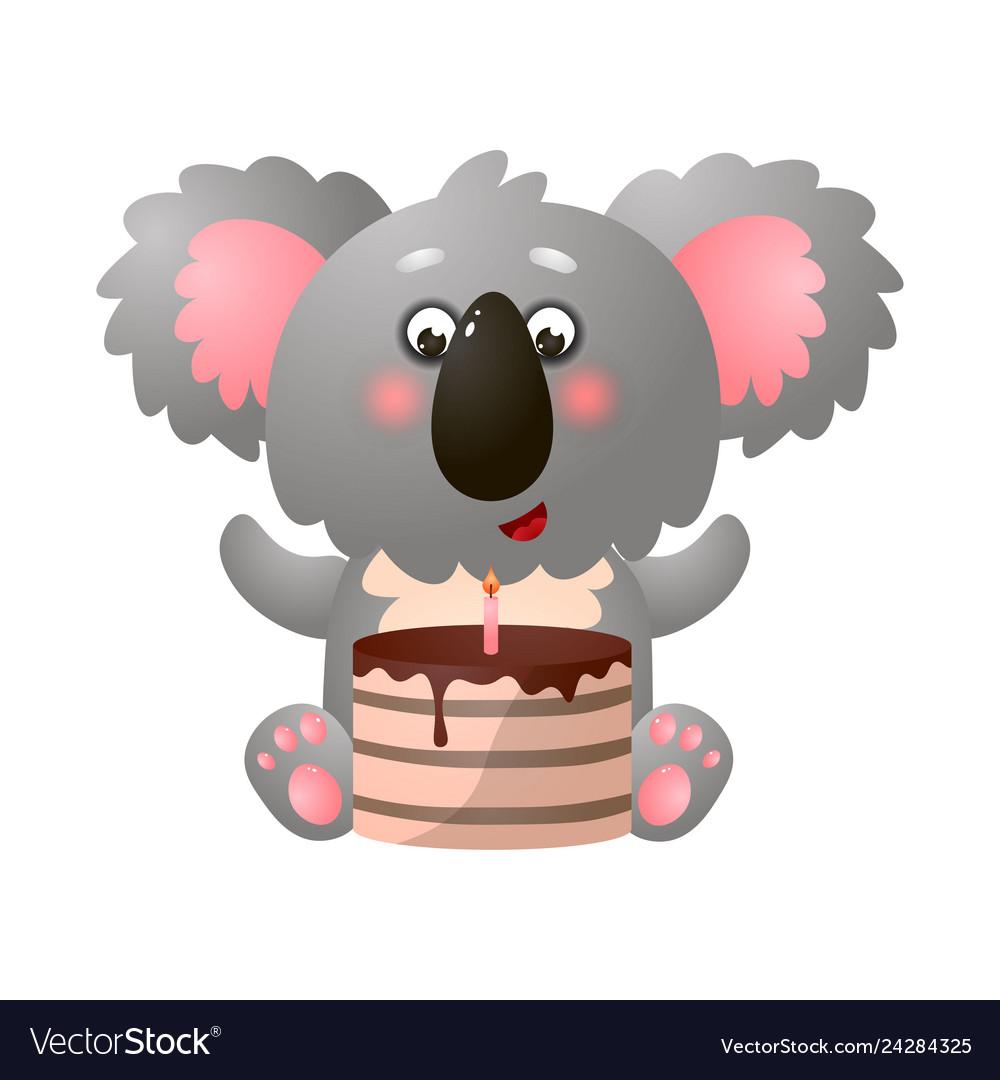 Amazing Funny Cute Exotic Koala With Birthday Cake On Vector Image Funny Birthday Cards Online Hetedamsfinfo