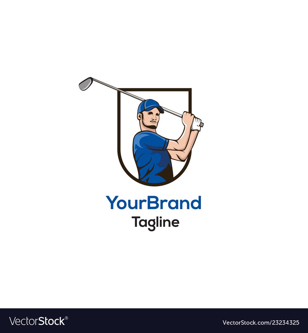 Golf man logo template