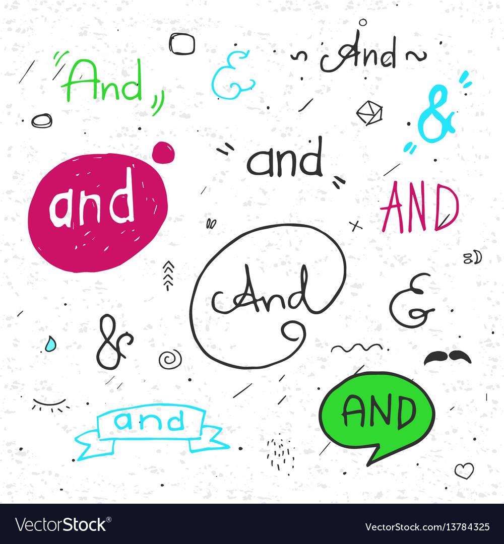Hand lettered ampersands vector image