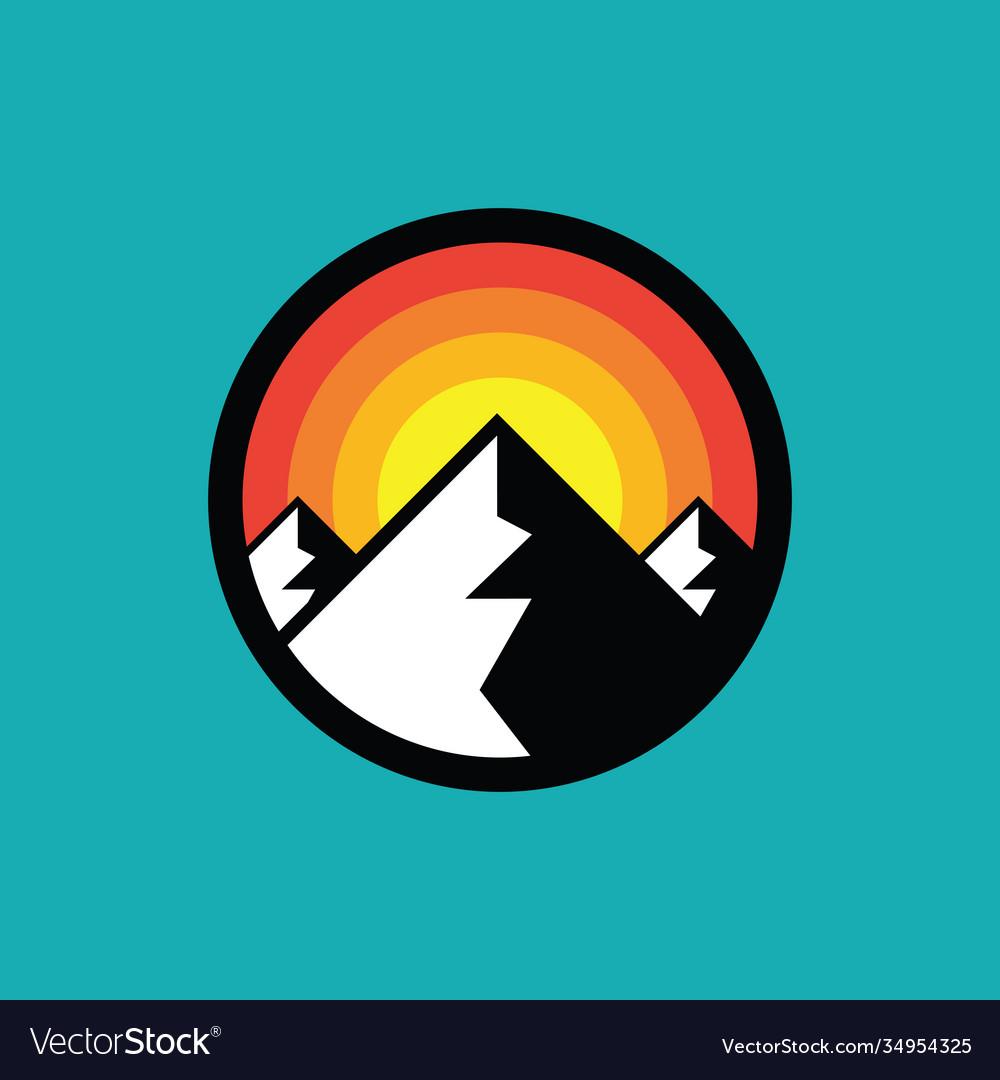 Mountain badge design hiking climbing circle