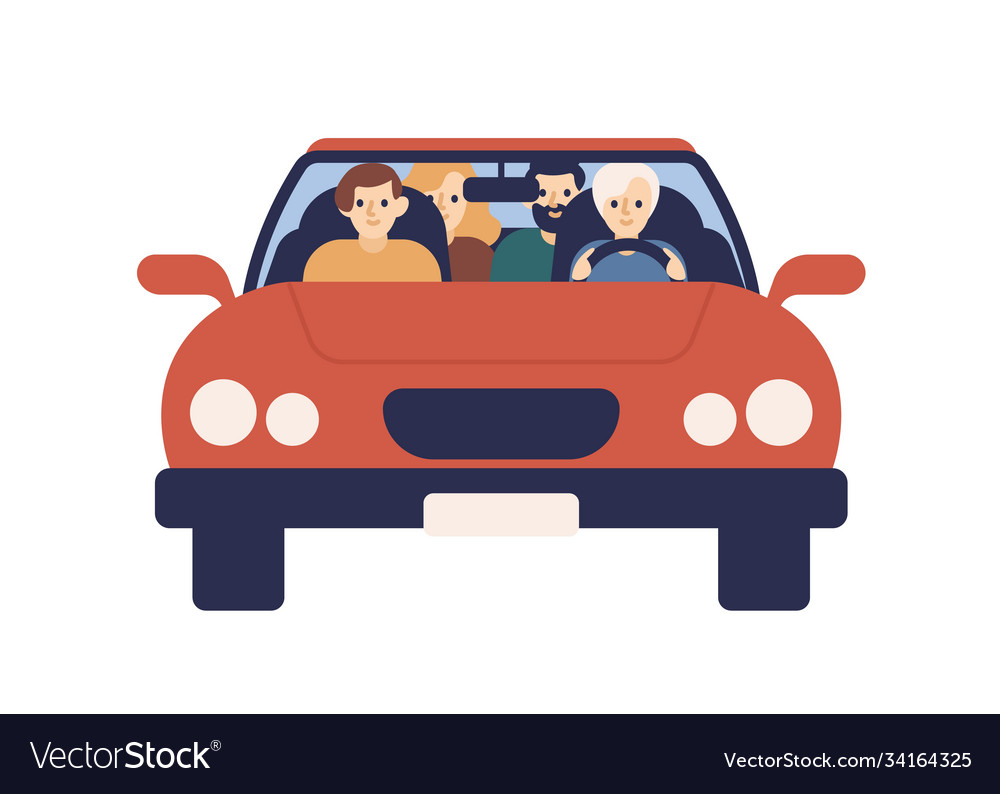 Smiling family riding on car together front view