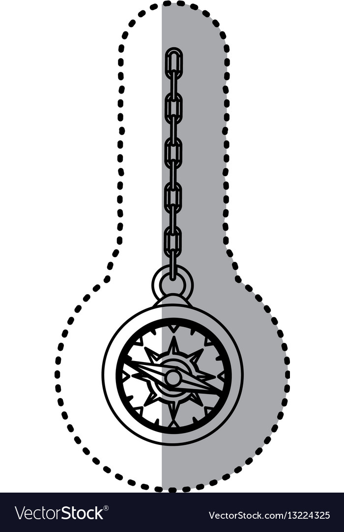 sticker silhouette compass hanging from a link vector image