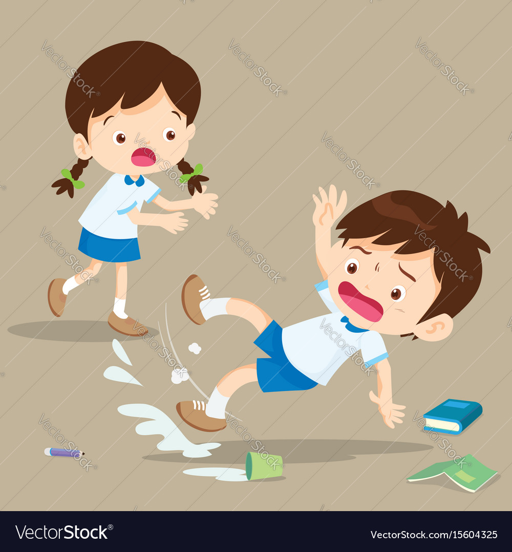 Student boy falling on wet floor