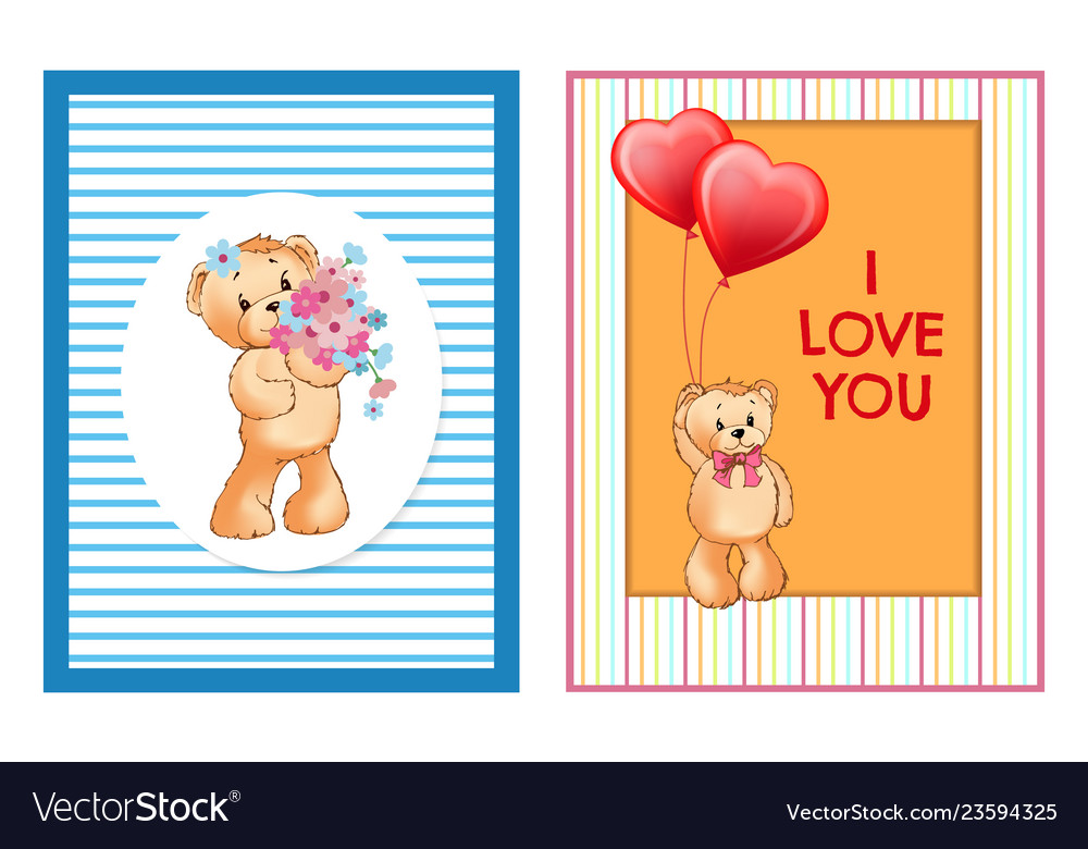 Teddy girl with bouquet flowers boy balloons vector