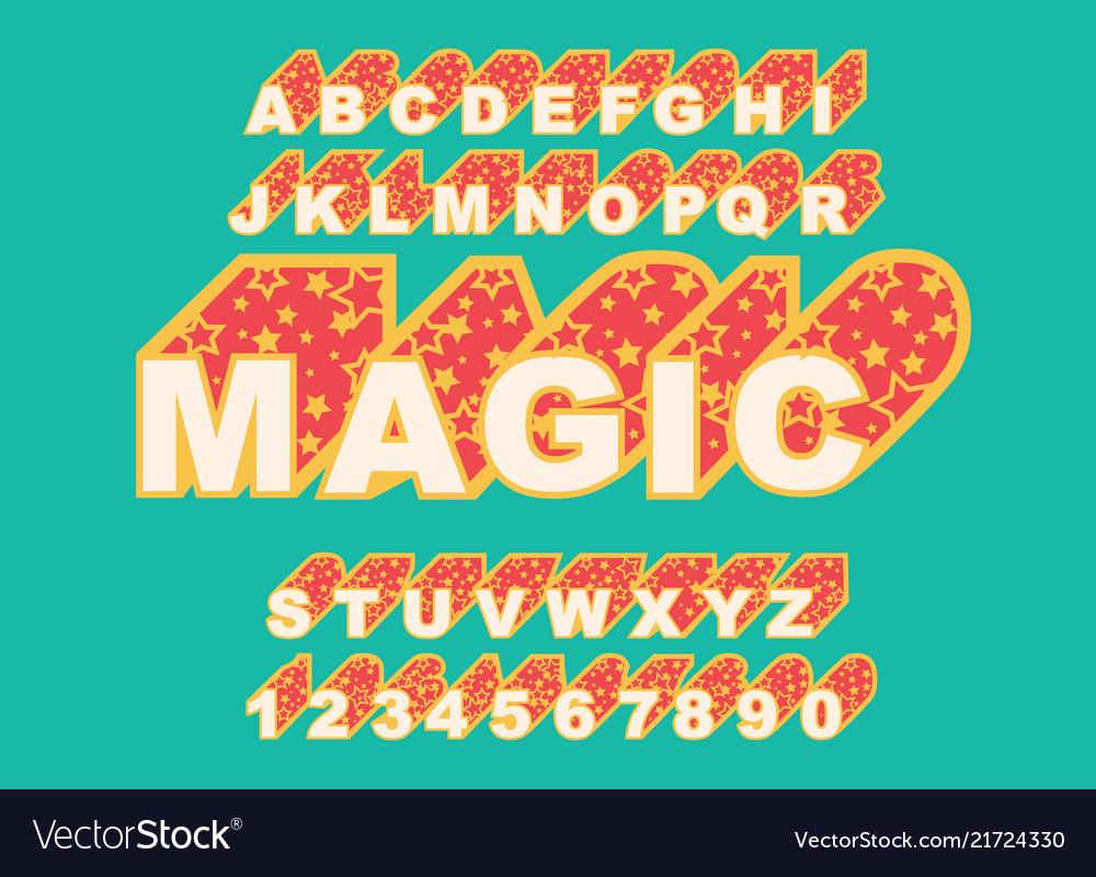 80 s retro alphabet font magic typography