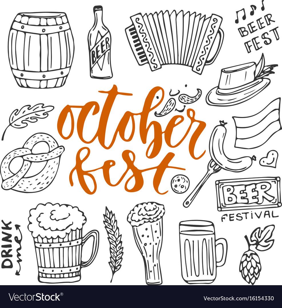 Beer October Fest Doodle Icons Set Beer Glasses Vector Image