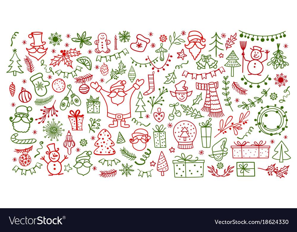 Big set of christmas design element in doodle