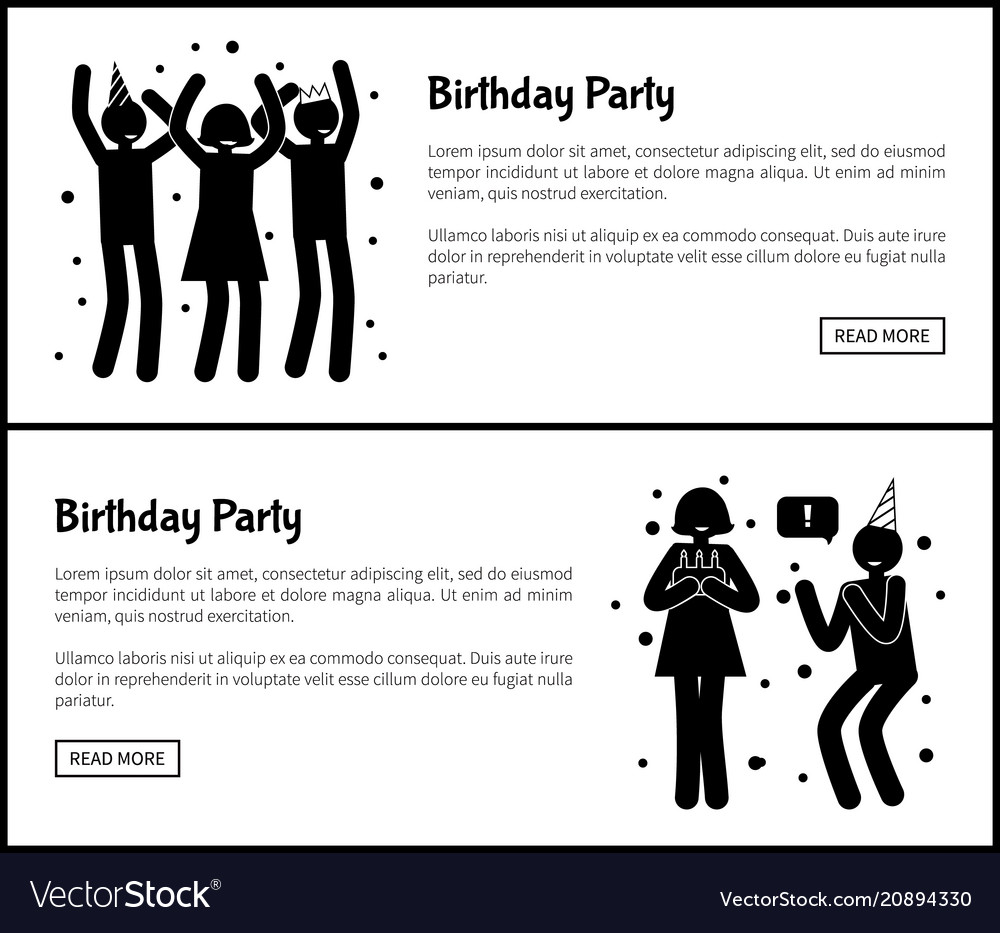Birthday party posters with people silhouettes
