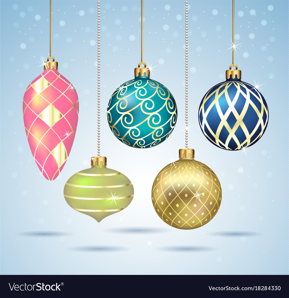 christmas balls ornaments hanging on gold thread vector image - Christmas Balls Ornaments