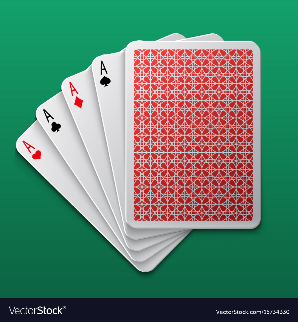 Four aces poker playing card on game table casino