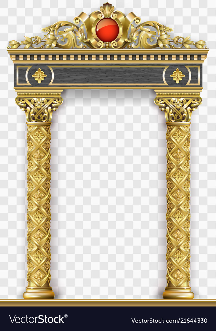 Golden luxury classic arch portal with columns