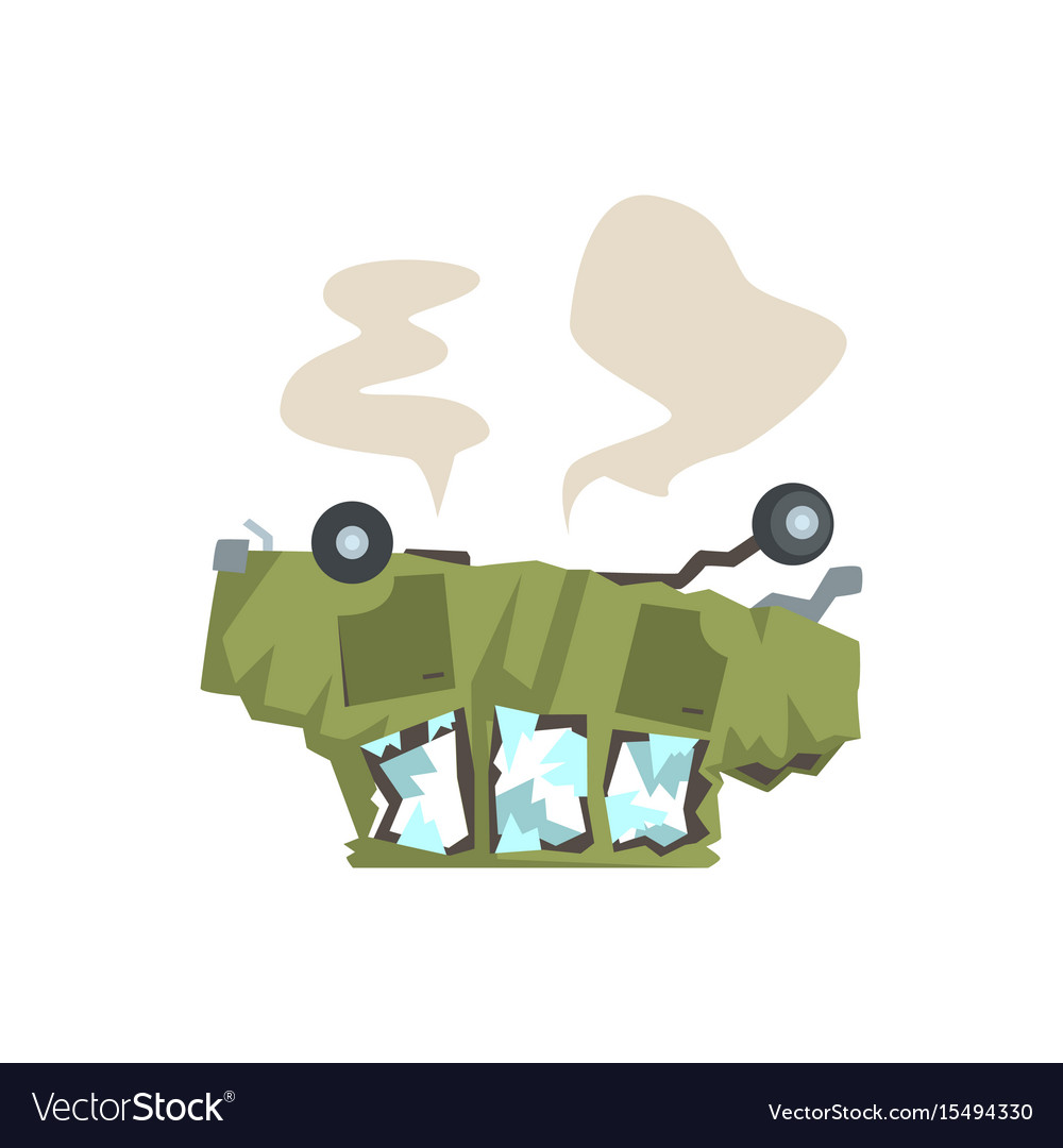 Green car overturned and damaged by accident vector image