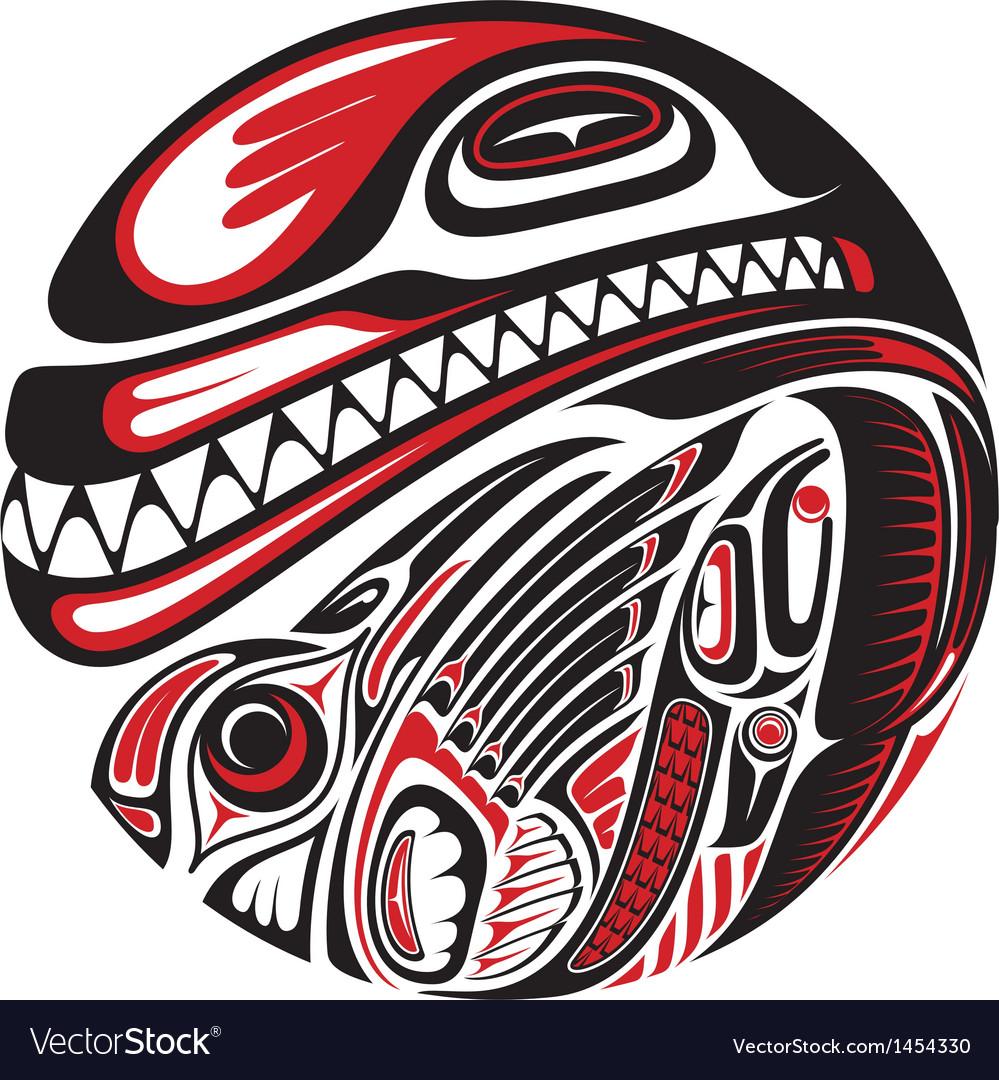 Haida style tattoo design vector image