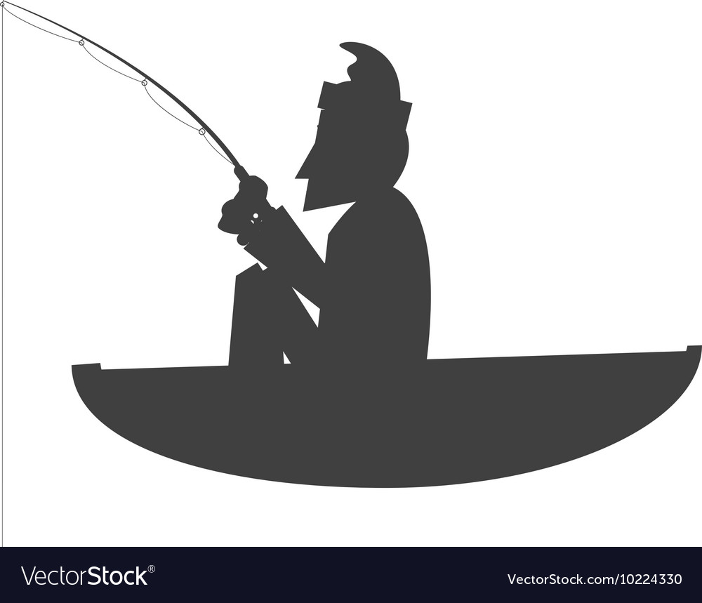 Download Man Fishing On Boat Icon Royalty Free Vector Image