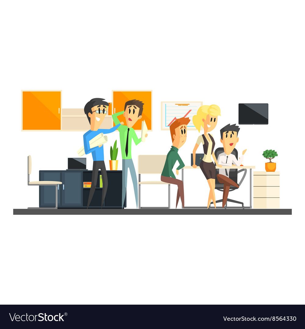 office team working royalty free vector image vectorstock