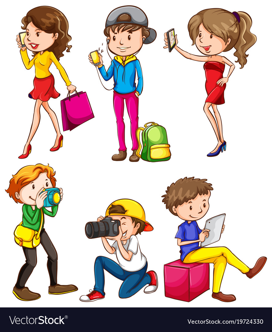 People using phone and camera on white background
