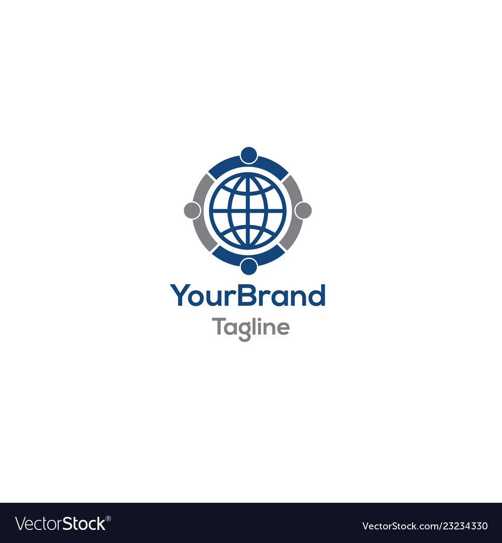Social world people organized logo template