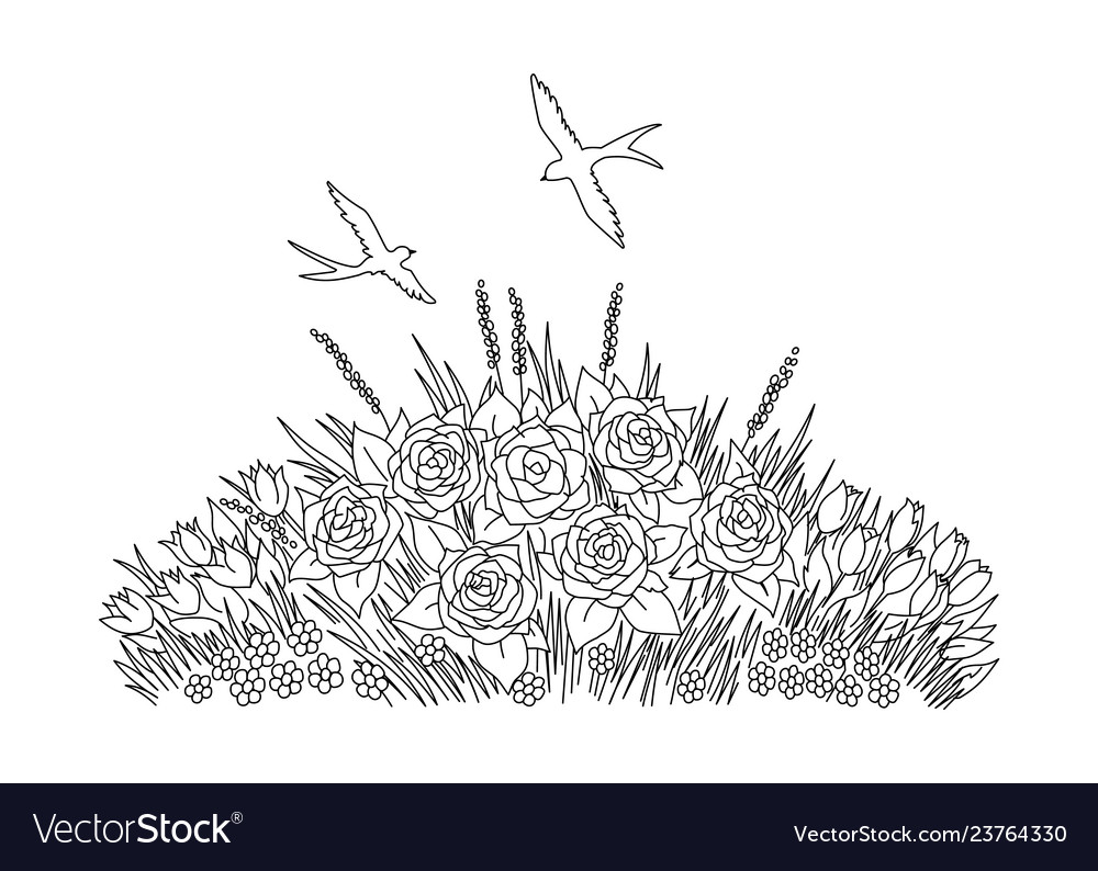 Swallows doodle with flowers on white background