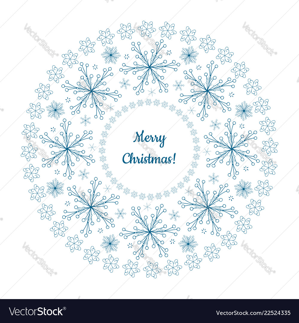 Beautiful winter garland made of blue snowflakes